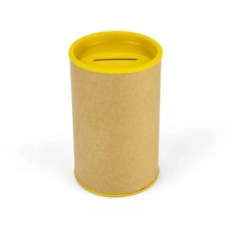 Cofrinho de Papelão com Plástico Amarelo
