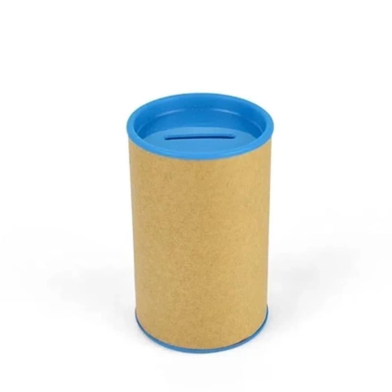 Cofrinho de Papelão com Plástico Azul Claro