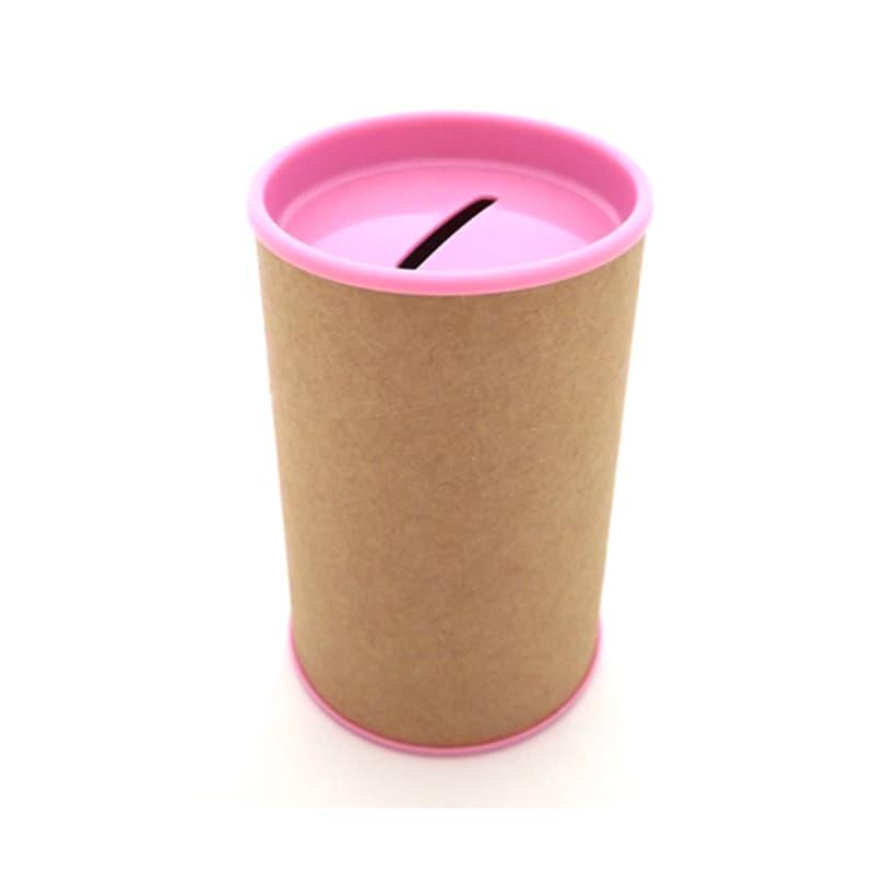 Cofrinho de Papelão com Plástico Rosa Claro