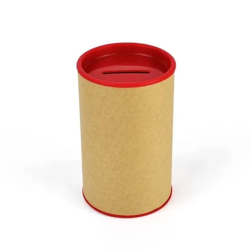 Cofrinho de Papelão com Plástico Vermelho