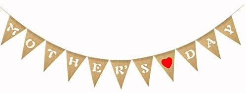 TINKSKY Bandeiras para pendurar no Dia das Mães Bandeiras de estopa com coração para o Dia das Mães Artigos de festa