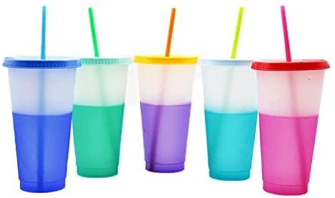 MAOSUO Copos que mudam de cor, material de polipropileno criativo, sensível à temperatura, cores que mudam de cor com tampas e canudos de acrílico, copos de café de verão para adultos e crianças