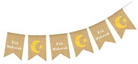 NUOBESTY Banner Mubarak Banne Eid Mubarak Bunting da Eid Mubarak Decorações de Ramadã Muçulmano para Artigos de Festa do Ramadã