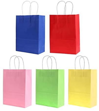 Bolsas de papel Kraft Toymytoy com alça colorida para presente de festa, aniversário, casamento, lembrancinha de presente, 20 peças