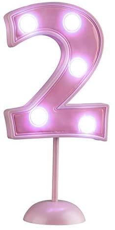 Vela Suporte Numeral Grande Led Rosa N2 – Pacote Com 1 Un Regina Rosa