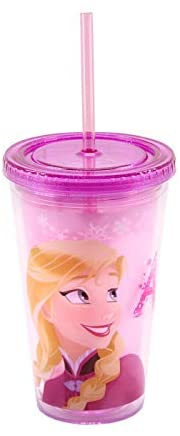 Copo de Plástico com Canudo Frozen 450ml – DQH046KL – Rosa