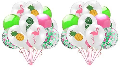 Balão de flamingo, balão de abacaxi, decoração de tartaruga, folha de tartaruga, layout havaiano para festa de reunimento, festa de casa – 01