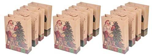 HEALLILY 12 Unidades de Saco de Presente de Natal de Papel Kraft de Papai Noel – Sacolas de Compras Sacolas de Compras Bolsa de Presentes de Festa para Festas de Natal (Estilo Aleatório)