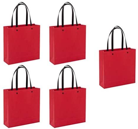 UPKOCH 5Pcs Sacos de Papel Kraft Sacos de Papel Vermelho Saco de Compras Sacos Kraft Sacos de Festa Sacos de Papel Vermelho Com Alças Recipiente de Lembrancinhas de Páscoa