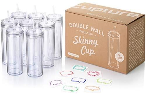 Copos de acrílico para copo com canudos da Cupture – 453 ml, pacote com 8, Transparent
