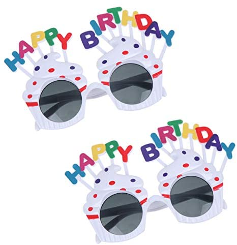 PretyzOOM 2 peças de óculos de sol Happy Birthday para bolo de creme, novidade, artigos de festa de aniversário, acessório para foto e festa de Natal