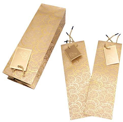 Lioobo 15 peças de papel kraft de Natal sacos de vinho com alça única garrafa de vinho, bolsa de festa de Natal