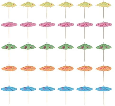 Cabilock Guarda-chuva para coquetel, 100 peças, elegante, topo de cupcake, guarda-chuva, decorativo, para festas, artigos