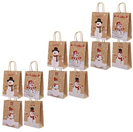 Hemoton Sacos de Presente de Papel Kraft de Natal 12Pcs Sacolinhas de Boneco de Neve Santa Com Alças Bolsas de Doces Portáteis para Presente de Festa de Natal