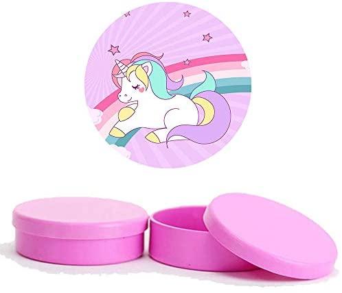 Kit Festa Unicornio 50 Latinhas de Plástico 50 Adesivos – Pink