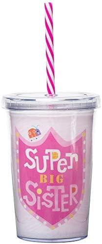 C.R. Gibson Copo de plástico pequeno isolado rosa 'Super Big Sister' para meninas, 227 g