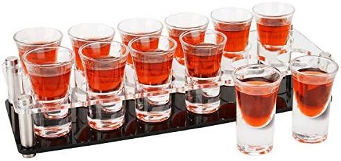 D&Z copo de shot com suporte de copo transparente de acrílico para barware, armazenamento de cozinha, bandeja de licor de vidro de shot para bebidas, Whisky Brandy Vodka Rum e conjunto de shots de tequila, 2 ml, TB-2X6 Holes