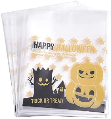 BESTOYARD 100 peças de sacolas de plástico de Halloween autoadesivas, bolsa de embalagem bonita para doces e doces (árvore de monstro) para artigos de festa de Halloween