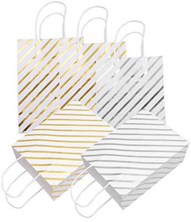 Bolsas de papel Kraft da Amosfun com listras diagonais para aniversário, casamento, festa de Natal, 20 peças