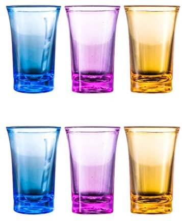 DOITOOL 6 peças copo de uísque, copo de vinho de acrílico, copo de bebida copo copo de cerveja, pode ser lavado na lava-louças e resistente ao calor, copos de cerveja de plástico inquebrável (cor sortida)