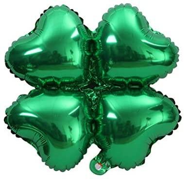 VALICLUD Conjunto de decoração de balão com balão de bandeira de quatro folhas irlandês do Dia de São Patrício de 16 polegadas (pacote de prata da Irlanda)
