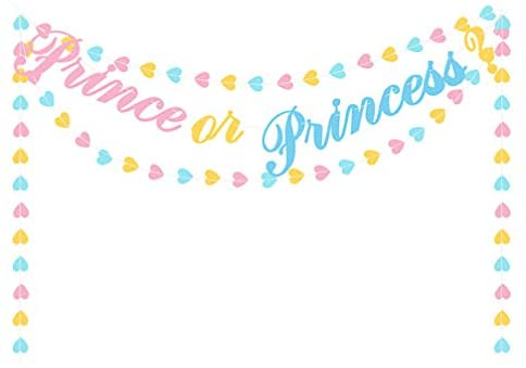 Valicclud 2 peças de artigos de festa para recém-nascidos, bandeiras coloridas de coração de amor adorável príncipe ou princesa, decoração de festa de bebê