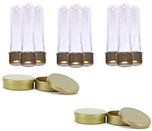Kit 100 Tubetes 13cm E 100 Latinhas De Plástico 5×1 – Dourado