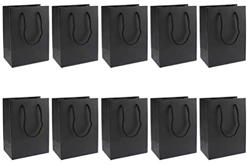 Bolsas de papel Kraft da Amosfun 10 peças, sacolas de presente para doces, sacolas de lembrancinhas, bolsa de armazenamento de compras (preta)
