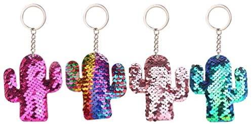 Chaveiro KesYOO com 4 peças de lantejoulas coloridas com glitter, chaveiro, lembrancinhas de festa para meninas, artigos de festa de aniversário, carteira, chaveiro, acessórios para telefone