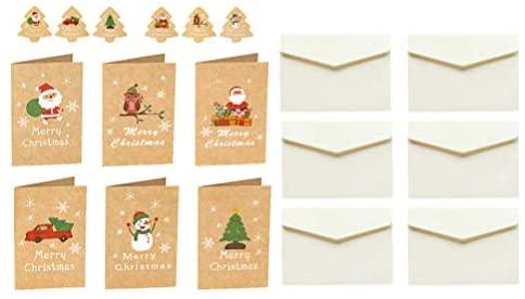 Valicclud 48 peças de cartões comemorativos de Natal em papel kraft cartões comemorativos de Natal com envelopes para bolsa de festa de Natal