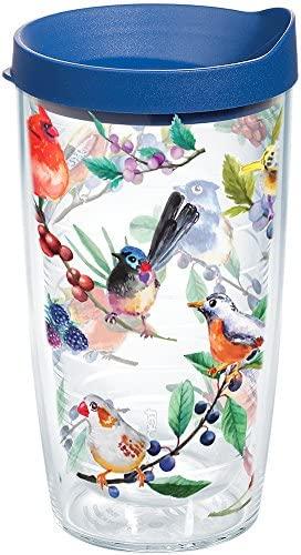 Tervis Copo isolado aquarela Songbirds com envoltório e tampa azul, 473 ml, transparente