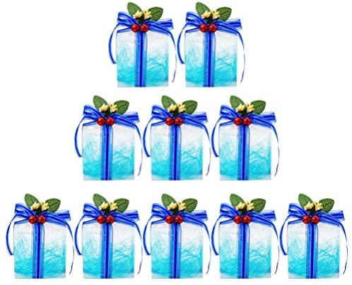 Toyvian 10 Unidades de Caixas de Presente de Natal Caixas de Doces Transparentes Com Arco para a Festa de Natal Natal Sacolas de Presentes de Natal Suprimentos Decoração