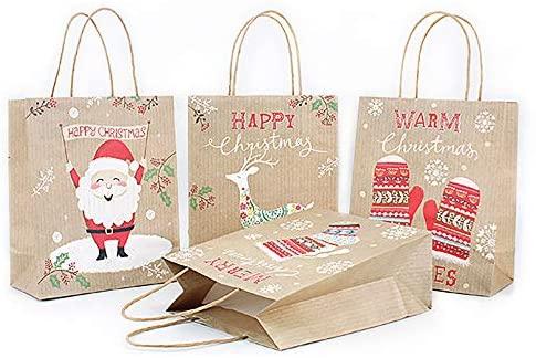 Saco de papel para presente de Natal, bolsa de papel Kraft para presentes de Natal, sacolas de presente de Natal