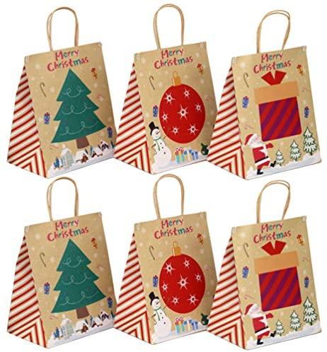 KESYOO 6 Pcs Sacos de Presente de Natal Saco de Papel Kraft Goodie Bolsas de Embalagem Sacolas Pequeno Punho Decorativo Pacote de Presente para a Festa de Natal