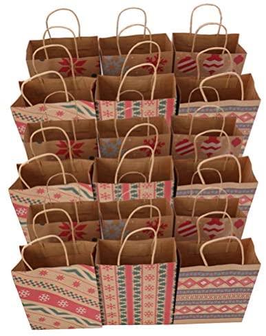 LIOOBO Pacote com 20 sacos de papel Kraft para impressão de lembranças sacola de presente bolsa de embalagem para loja de festa padaria