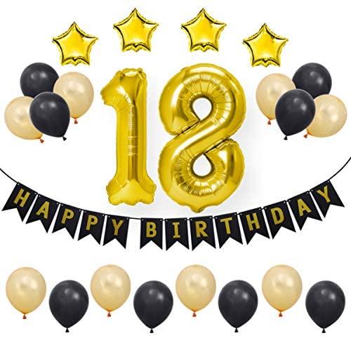 Conjunto de artigos para festa de 18 anos Amosfun com balões de alumínio e números felizes para festas de casamento, aniversário de casamento