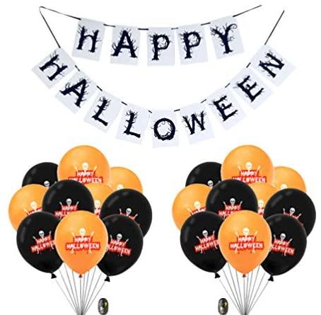 Amosfun 1 conjunto de artigos para festa de Halloween Happy Halloween Banner Balão redondo de látex com fita de balão para decoração de festa de Halloween