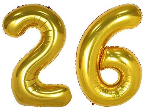 101,6 cm dourado número 26 balões decorações de festa aniversário aniversário jumbo balões de hélio artigos de festa, use como acessório para fotos (ouro 26)