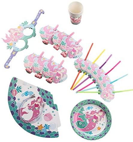 Conjunto de 36 peças de artigos de festa com tema de sereia, conjunto de copos e pratos, kit de festa de aniversário infantil para artigos de festa