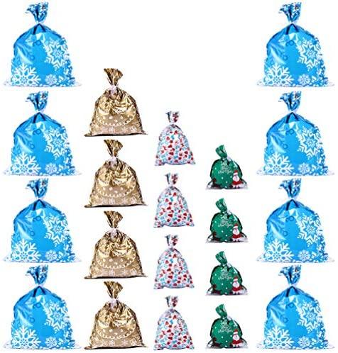 Toyvian 20 Pcs Sacos de Presentes de Natal Com Cordão de Cordão de Plástico Sacolas de Plástico para Presentes Pacote de Embrulho de Guloseimas Bolsa de Armazenamento Com Laços para