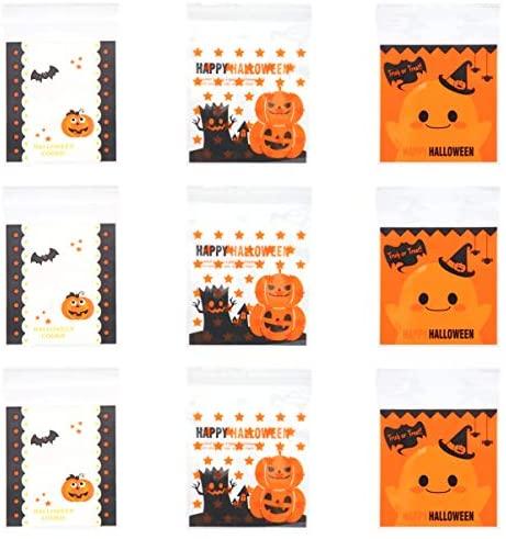 300 peças de sacolas de Halloween autoadesivas para biscoitos de plástico de celofane para lembrancinhas de festa de Halloween da ARTIBETTER