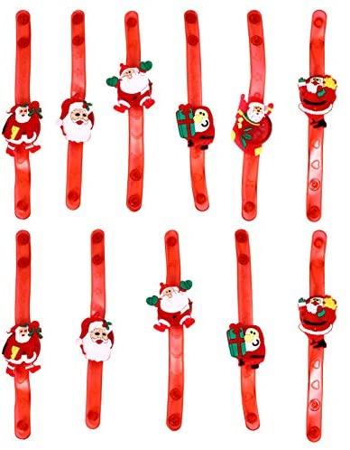 TOYANDONA 10 peças de pulseiras de festa de Natal com LED, braceletes de Papai Noel, braceletes com braço intermitente, artigos de festa de Natal para shows, festivais, festas esportivas