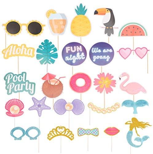 Adereços para fotos de festa na piscina da Amosfun para festa de sereia, artigos para festa de aniversário, 25 peças