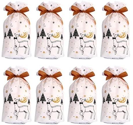 Hemoton 50 Unidades de Sacola de Doces de Natal Sacolas de Guloseimas de Natal Com Cordão de Sacolas de Presentes Suprimentos para Festas de Natal (Estilo Aleatório)