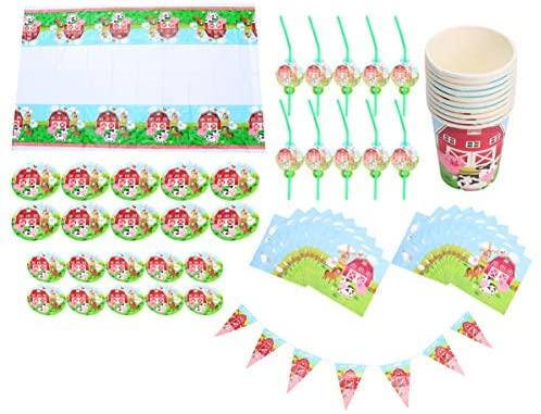 Toyandona – Conjunto de artigos de mesa para festa de aniversário, tema de fazenda, pratos de papel para festa, louças de mesa e toalha de mesa para chá de bebê