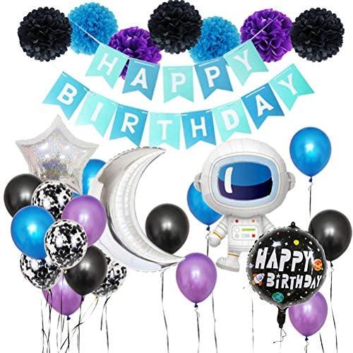 Conjunto de balões e faixa Amosfun para decoração de festa de aniversário com 28 peças, conjunto de decoração criativa para festas (boneco espacial) para artigos de festa