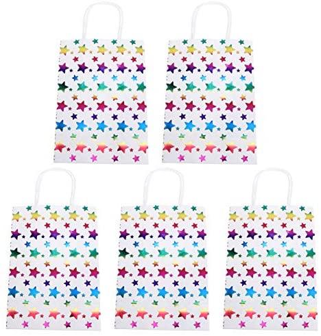Kisangel 20 peças Hot-Stamp bolsa de papel Kraft bolsa de presente de papel colorido com alça bolsa de presente