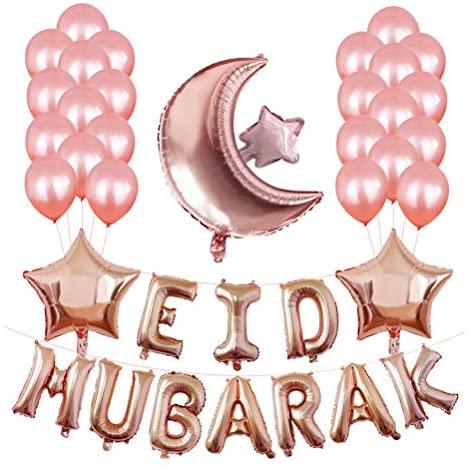 Balões de alumínio criativos da Valicclud, balões de látex Eid Mubarak, letra, lua, estrela, balão, decoração de festa (ouro rosa)