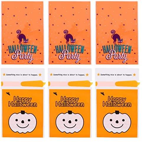 STOBOK 100 Pcs Sacos de Doces de Halloween Com Padrão de Abóbora Autoadesivo Saco Plástico Transparente para Biscoitos de Doces para Presentes de Festa de Halloween (Laranja)