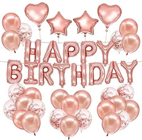 Conjunto de artigos de festa para decoração de aniversário em ouro rosa com bolas em formato de coração para festa de princesa, festa de aniversário